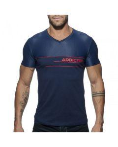 Addicted V-Neck Combi Mesh T-Shirt - Blauw voorkant