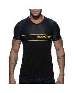 Addicted V-Neck Combi Mesh T-Shirt - Zwart