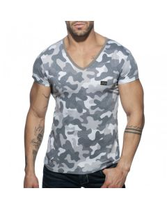 Addicted Washed Camo T-Shirt - Charcoal*