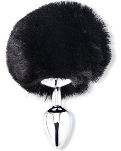 Buttplug met Fluffy Staartje - Zwart*