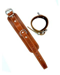 Mister B Leather Ankle Restraints Stitched - Brown open