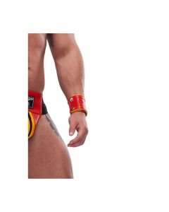 Mister B Leather Circuit Wrist Wallet Zip - Red Yellow