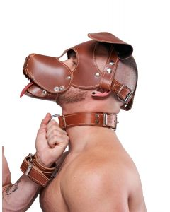 Mister B Leather Collar Stitched - Brown