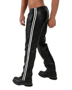 Mister B Leather Jogging Pants White Stripes zijkant