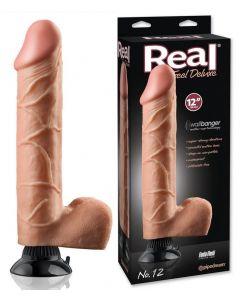 Real Feel Vibrator Dildo Deluxe Flesh 30 cm