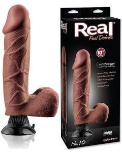 Real Feel Vibrator Dildo Deluxe Brown 25 cm