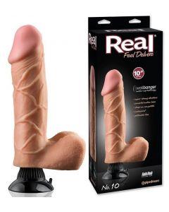 Real Feel Vibrator Dildo Deluxe Flesh 25 cm
