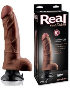 Real Feel Vibrator Dildo Deluxe Brown 20 cm
