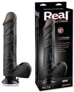 Real Feel Vibrator Dildo Deluxe Black 30 cm